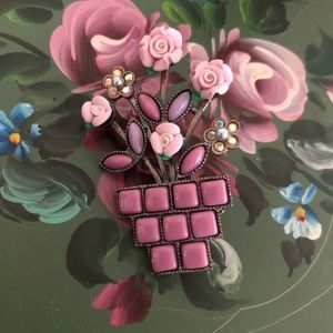 Vintage Pink/Purple Flower Pot Brooch